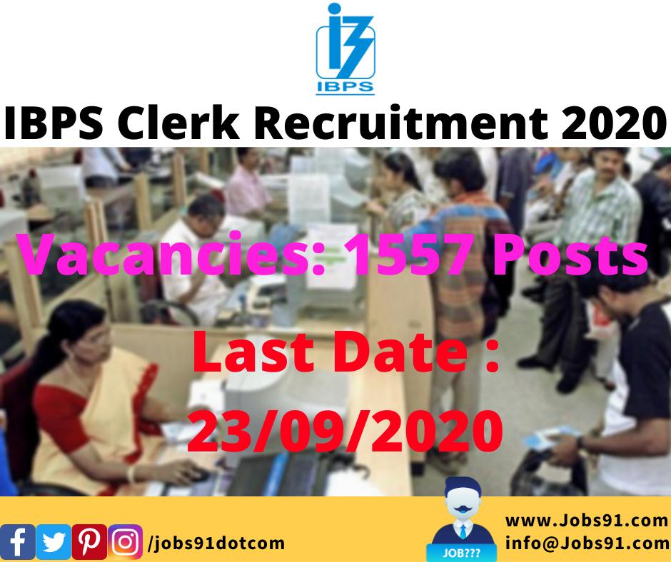 IBPS Clerk Recruitment 2020 @ Jobs91.com