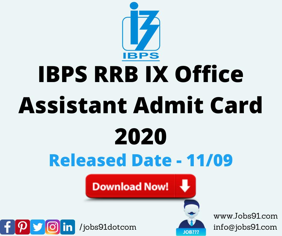 IBPS RRB IX Office Assistant Admit Card 2020 @ Jobs91.com