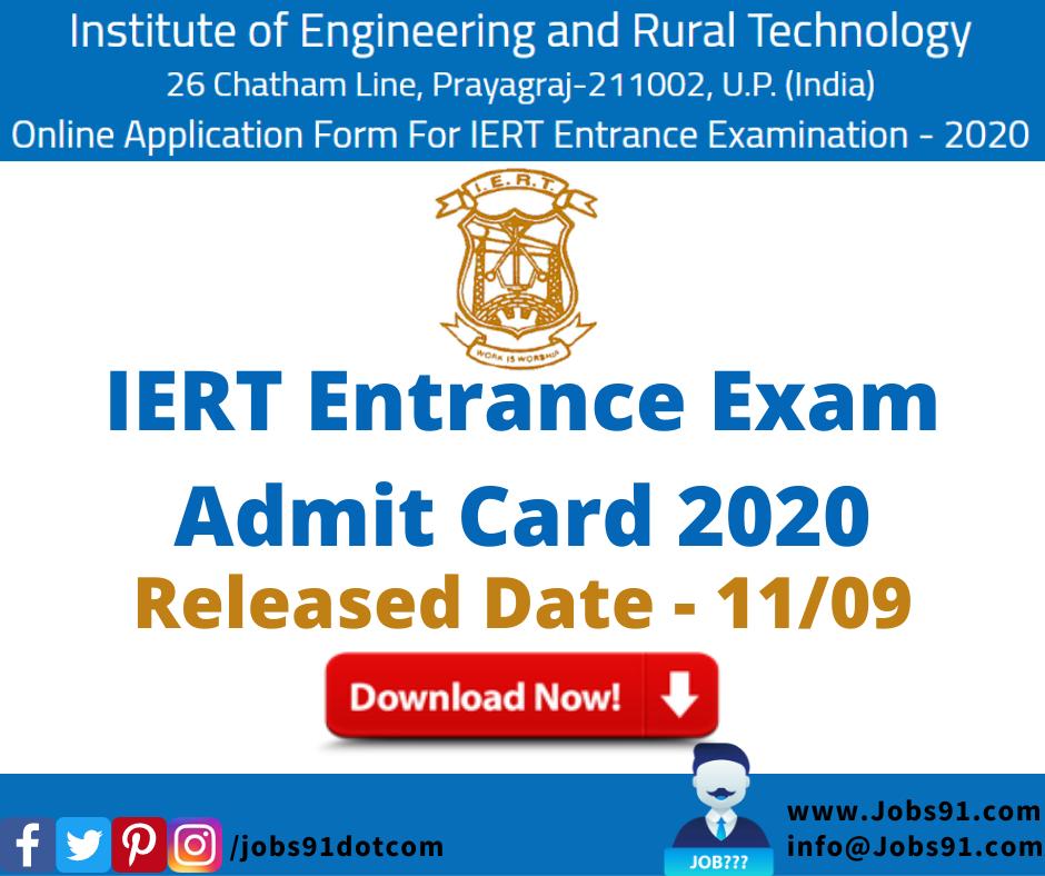 IERT Entrance Exam Admit Card 2020 @ Jobs91.com