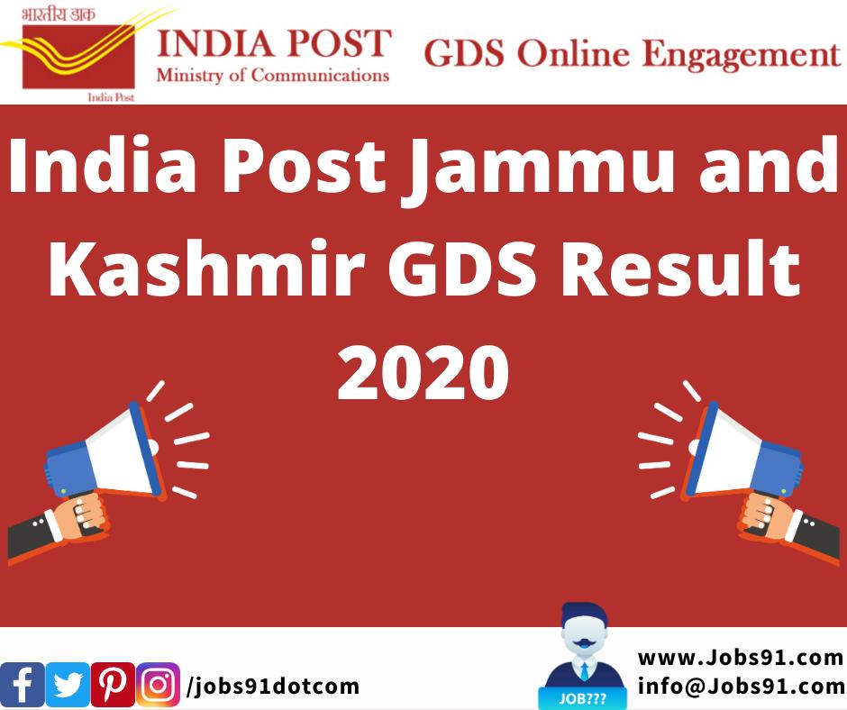 India Post Jammu and Kashmir GDS Result 2020 @ Jobs91.com