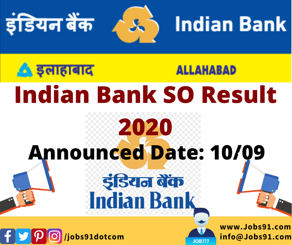 Indian Bank SO Result 2020 @ Jobs91.com