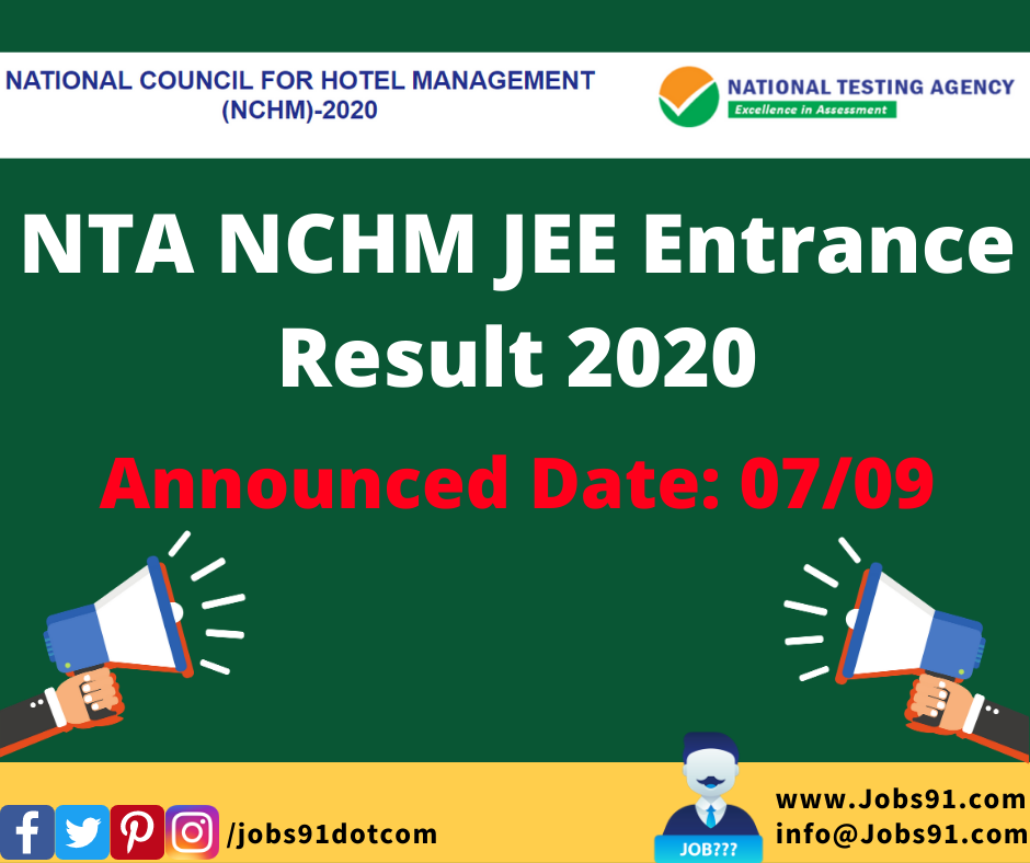 NTA NCHM JEE Entrance Result 2020 @ Jobs91.com