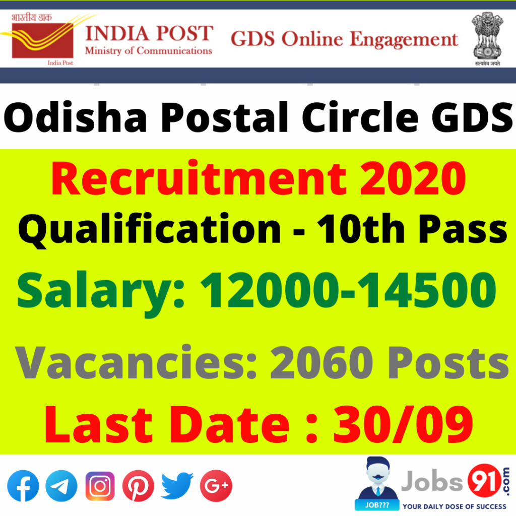 Odisha Postal Circle GDS Recruitment 2020 @ Jobs91.com