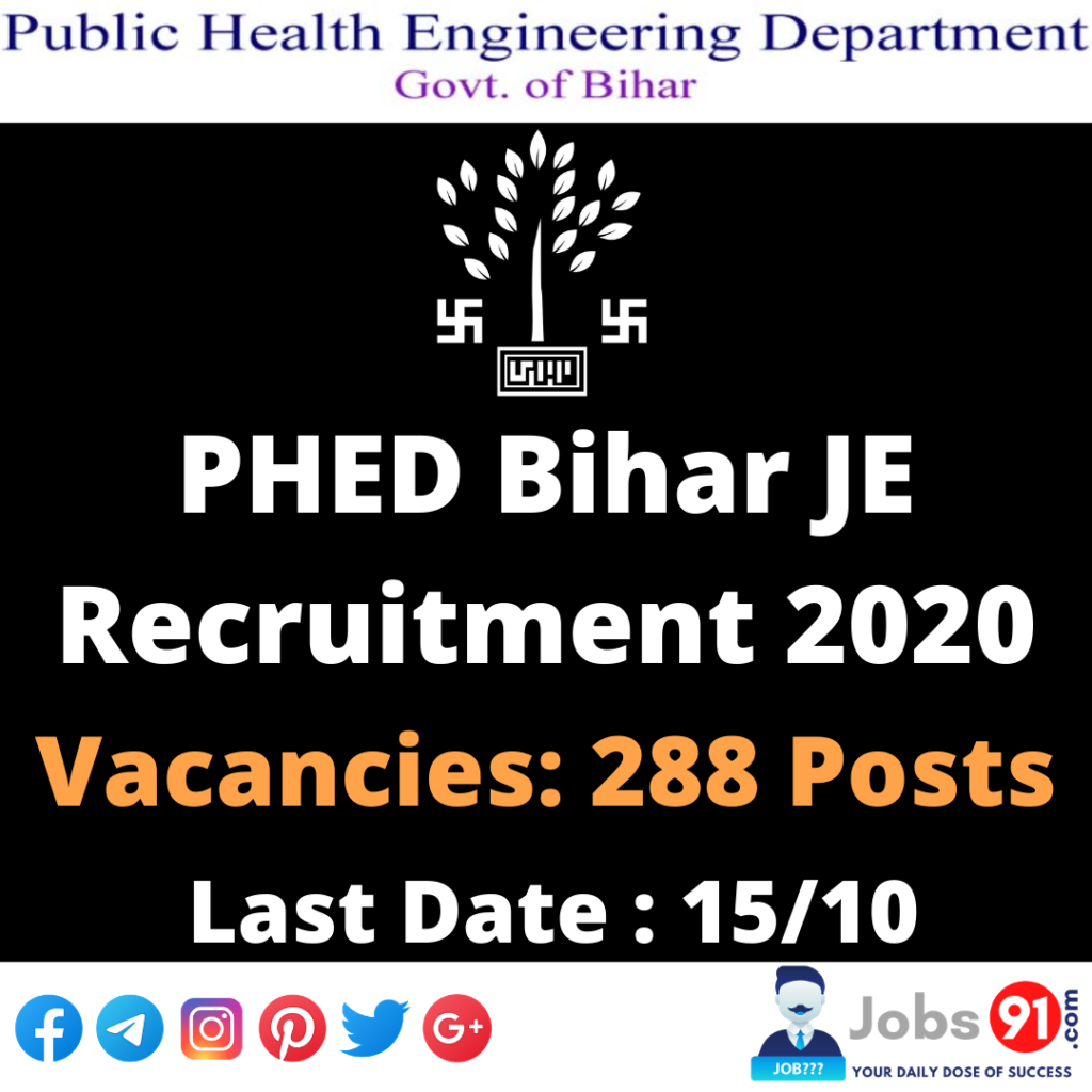 PHED Bihar JE Recruitment 2020 @ Jobs91.com