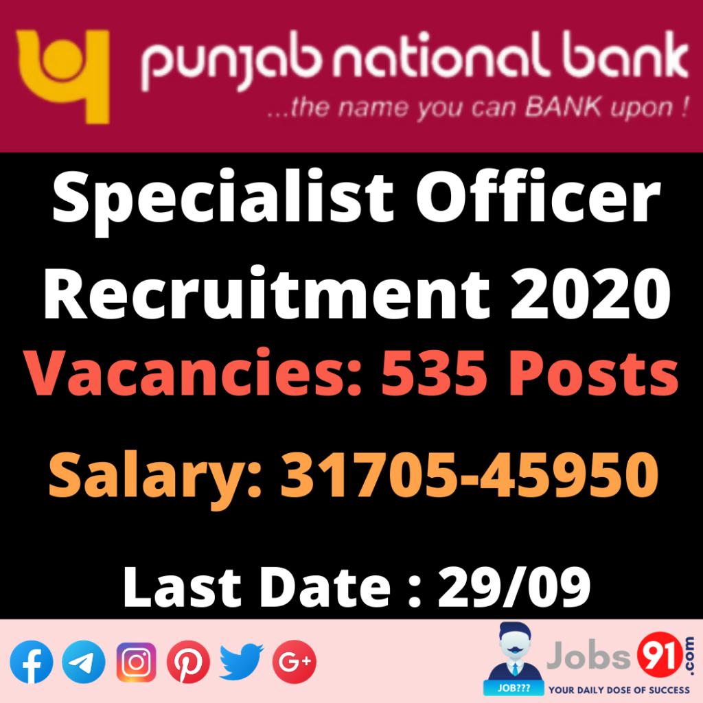 PNB Specialist Officer Recruitment 2020 @ Jobs91.com