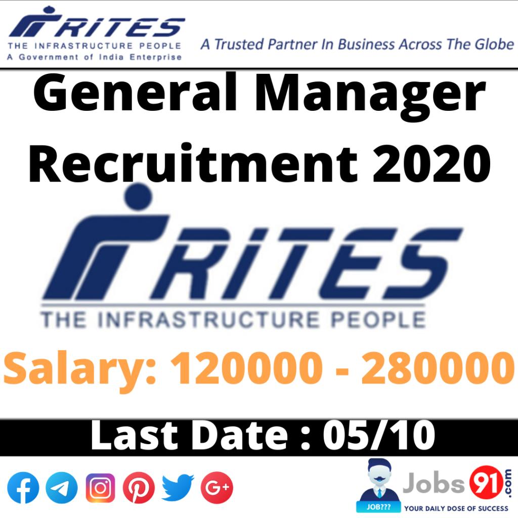 RITES General Manager (Civil) Recruitment 2020 @ Jobs91.com