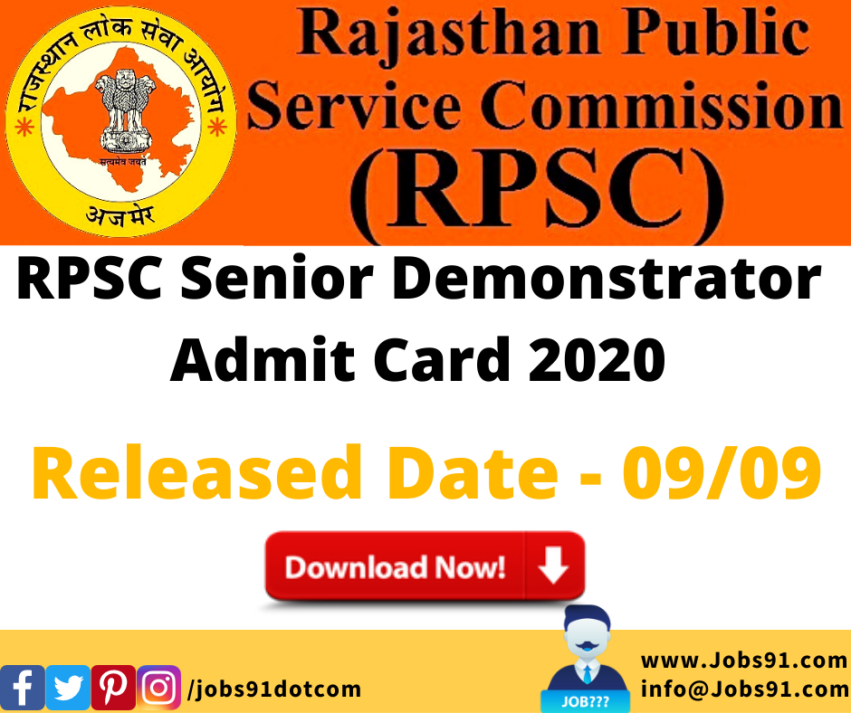 RPSC Senior Demonstrator Admit Card 2020 @ Jobs91.com