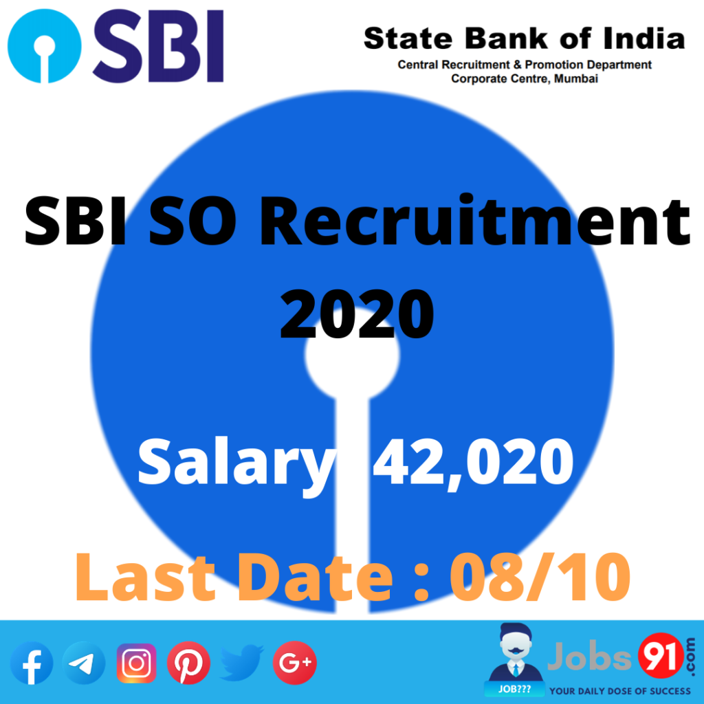 SBI SO Recruitment 2020 @ Jobs91.com