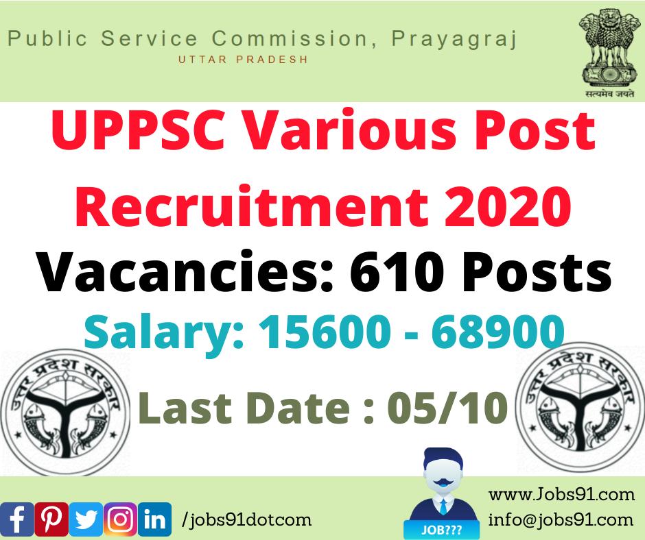 UPPSC Various Post Recruitment 2020 @ Jobs91.com