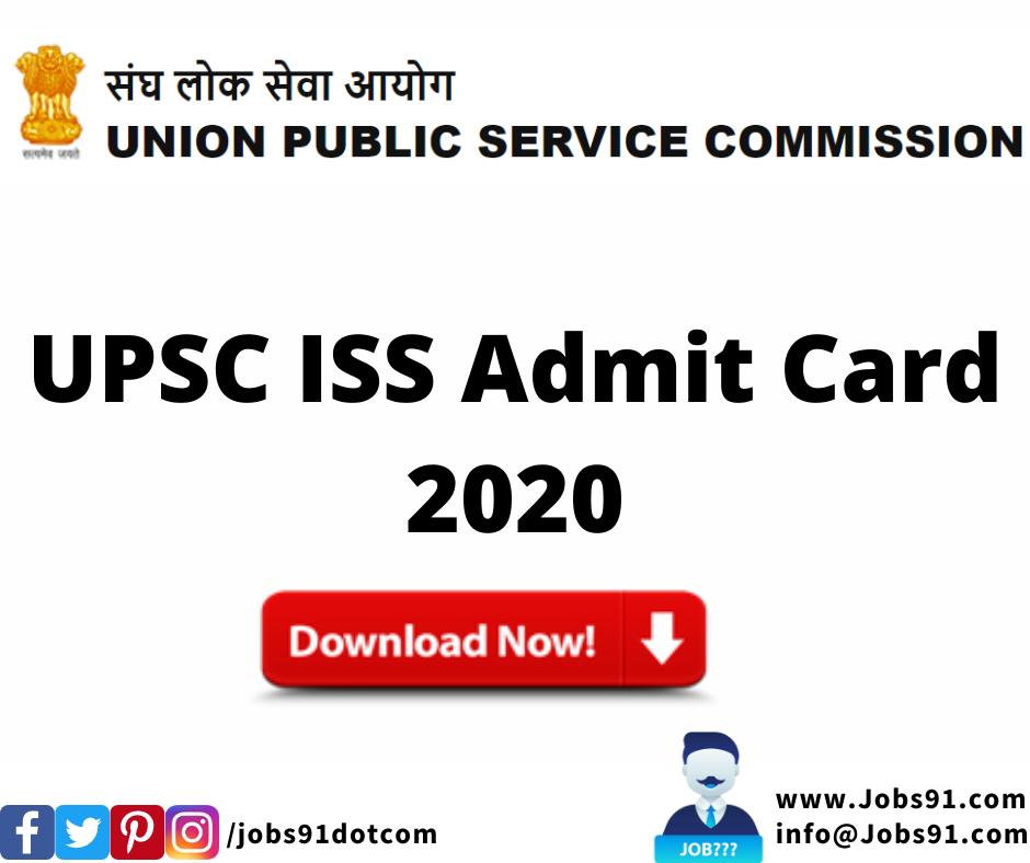 UPSC ISS Admit Card 2020 @ Jobs91.com