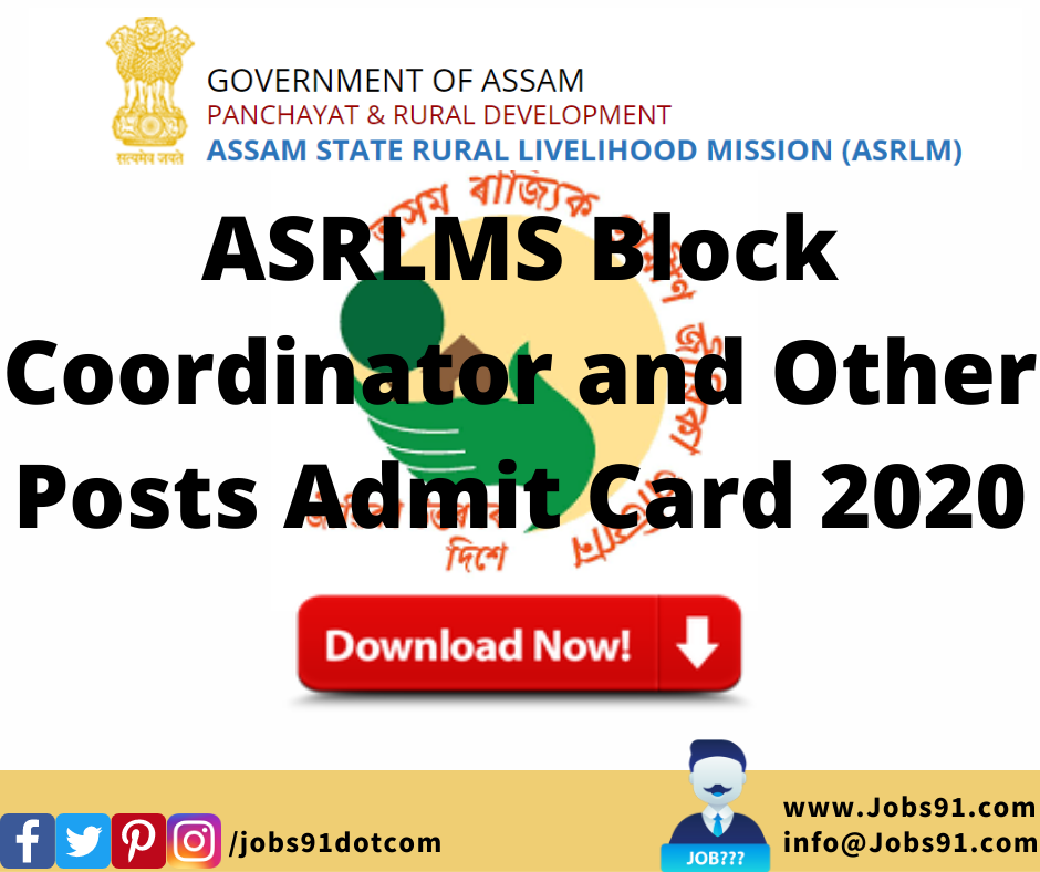 ASRLMS Block Coordinator and Other Posts Admit Card 2020 @ Jobs91.com