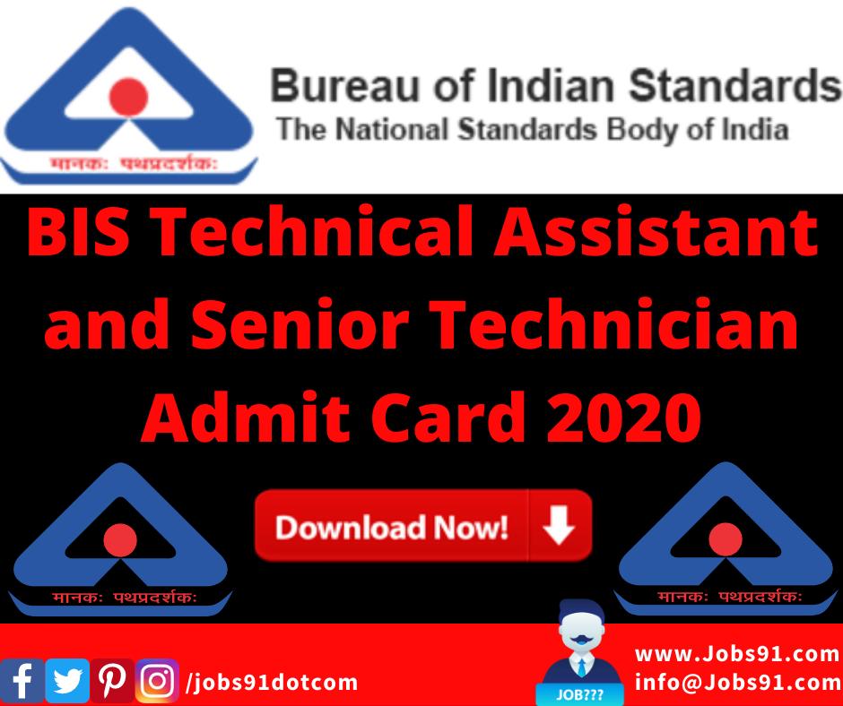 BIS Technical Assistant and Senior Technician Admit Card 2020 @ Jobs91.com
