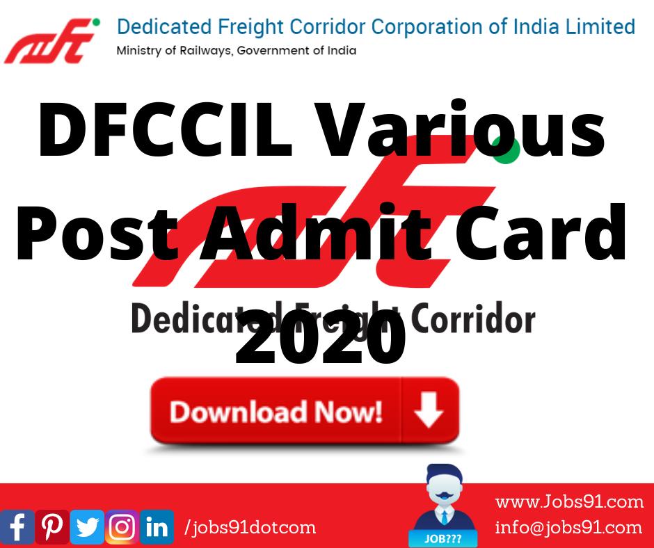 DFCCIL Various Post Admit Card 2020 @ Jobs91.com