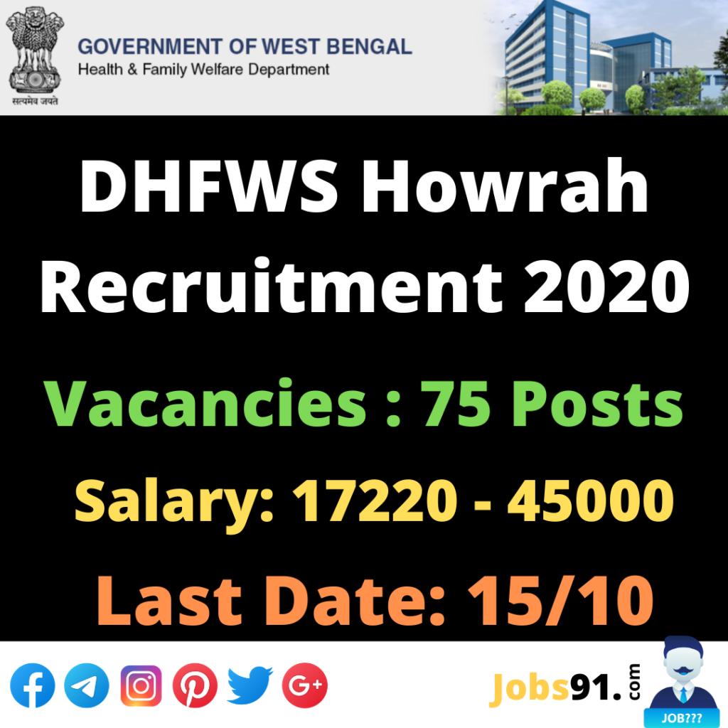 DHFWS Howrah Recruitment 2020 @ Jobs91.com