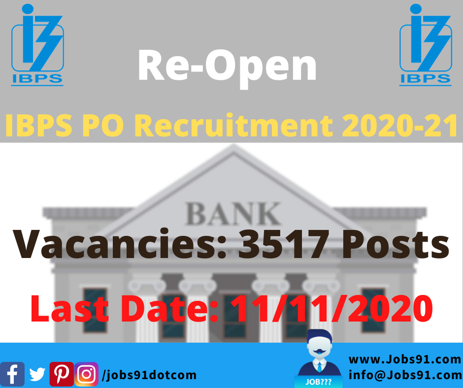 IBPS PO Recruitment 2020-21 Re-Open @ Jobs91.com