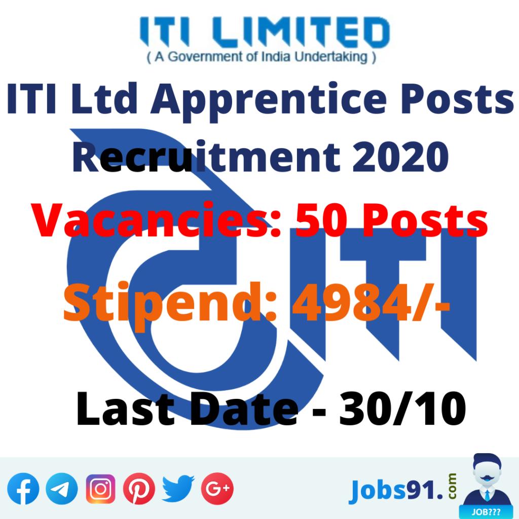 ITI Ltd Apprentice Posts Recruitment 2020 @ Jobs91.com
