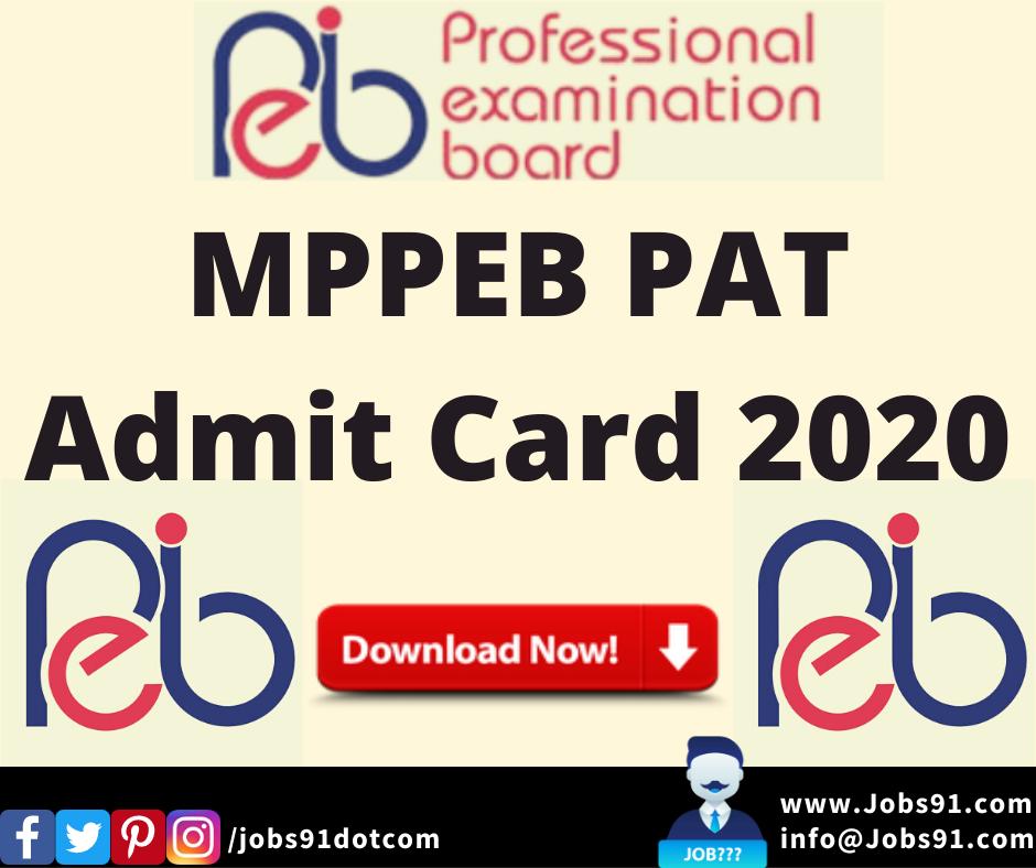 MPPEB PAT Admit Card 2020 @ Jobs91.com