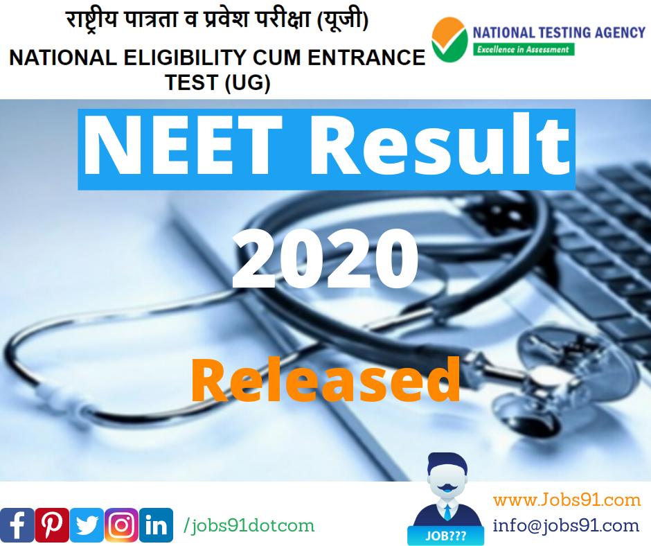 NEET Result 2020 @ Jobs91.com
