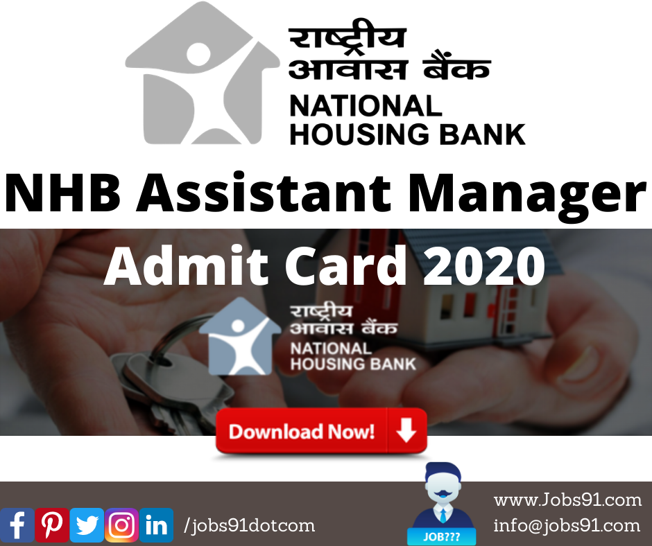 NHB Assistant Manager Admit Card 2020 @ Jobs91.com