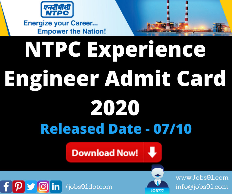 NTPC Experience Engineer Admit Card 2020 @ Jobs91.com