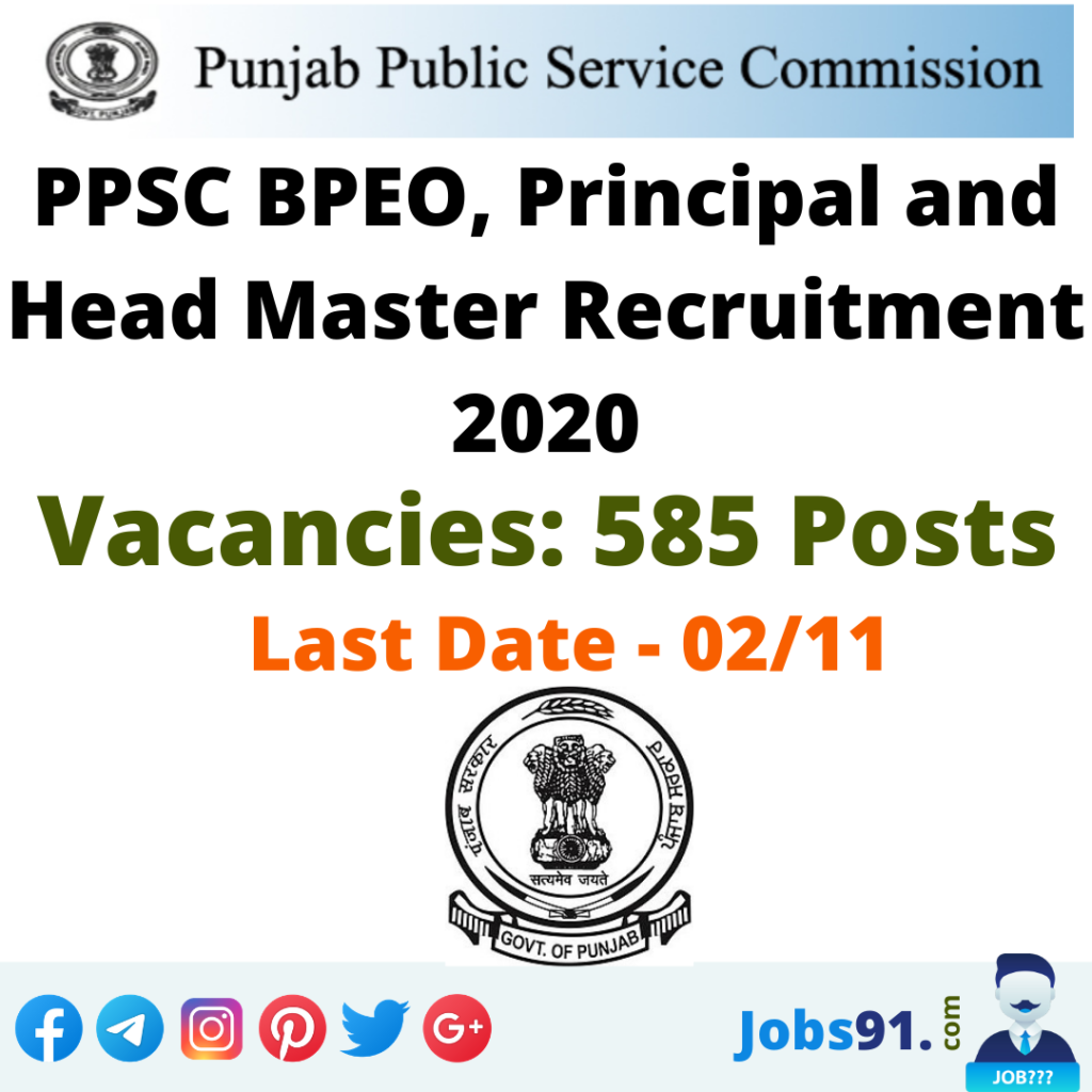 PPSC BPEO, Principal and Head Master Recruitment 2020 @ Jobs91.com