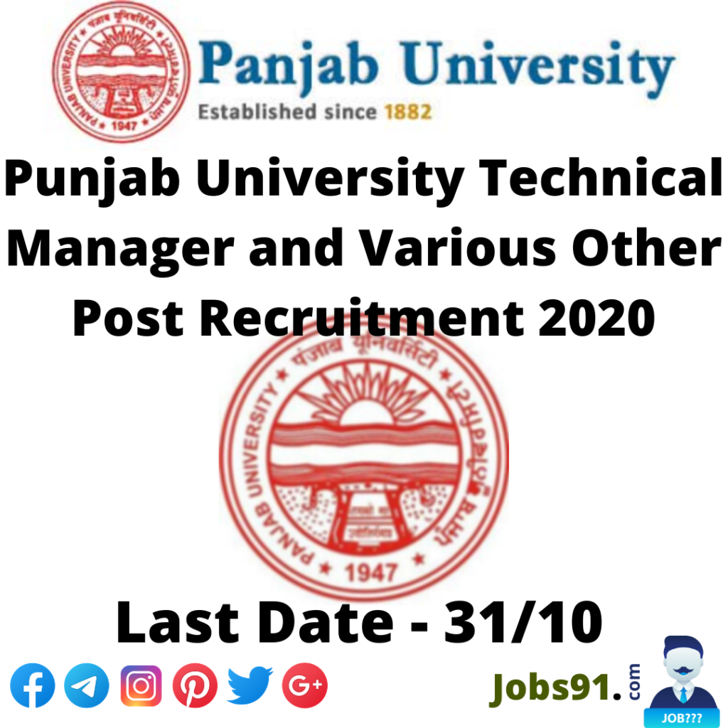 Punjab University Technical Manager and Various Other Post Recruitment 2020 @ Jobs91.com