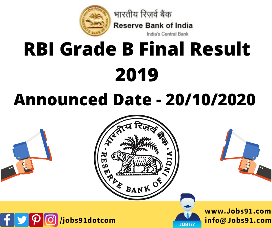RBI Grade B Final Result 2019 @ Jobs91.com
