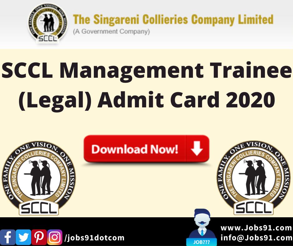 SCCL Management Trainee (Legal) Admit Card 2020 @ Jobs91.com