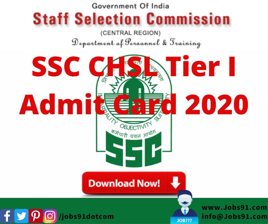 SSC CHSL Tier I Admit Card 2020 @ Jobs91.com