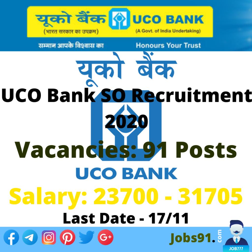 UCO Bank SO Recruitment 2020 @ Jobs91.com