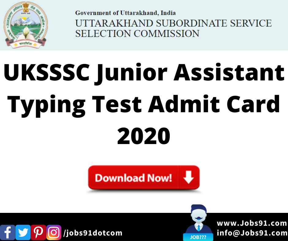 UKSSSC Junior Assistant Admit Card 2020 @ Jobs91.com
