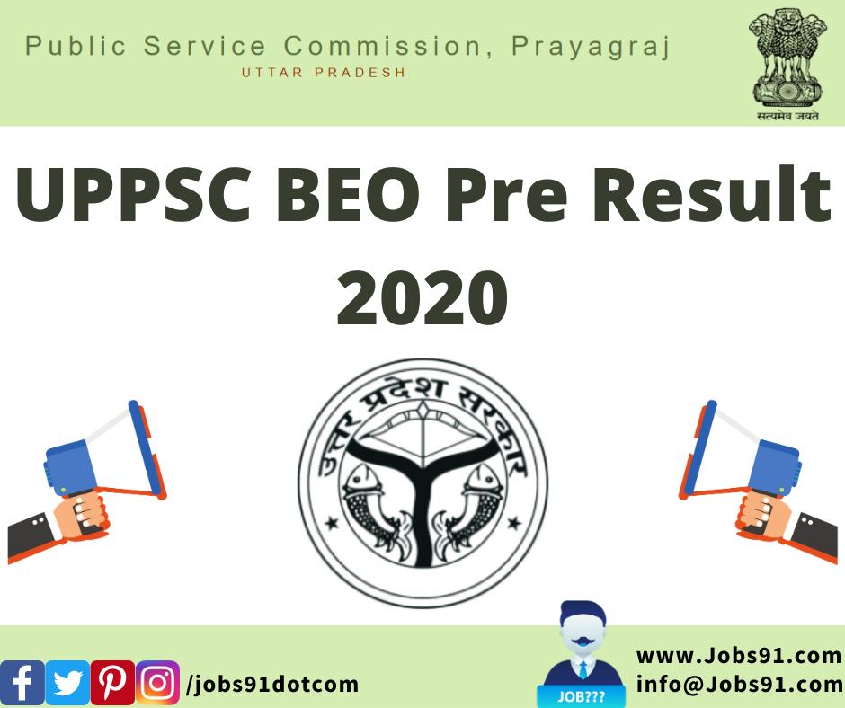 UPPSC BEO Pre Result 2020 @ Jobs91.com