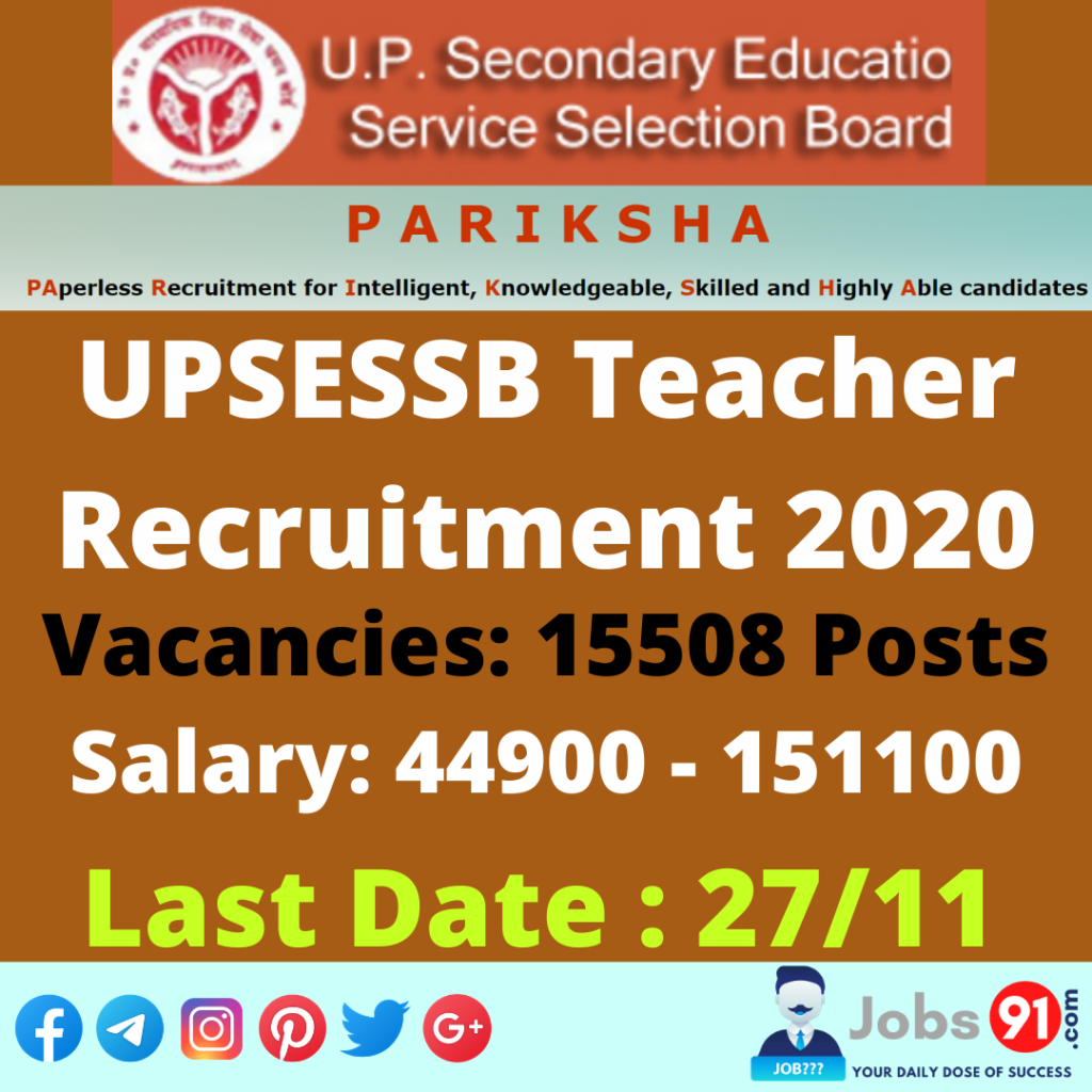 UPSESSB Teacher Recruitment 2020 @ Jobs91.com