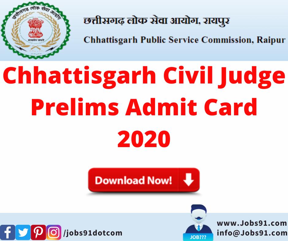 Chhattisgarh Civil Judge Prelims Admit Card 2020 @ Jobs91.com