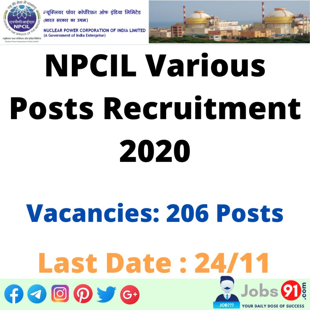 NPCIL Various Posts Recruitment 2020 @ Jobs91.com