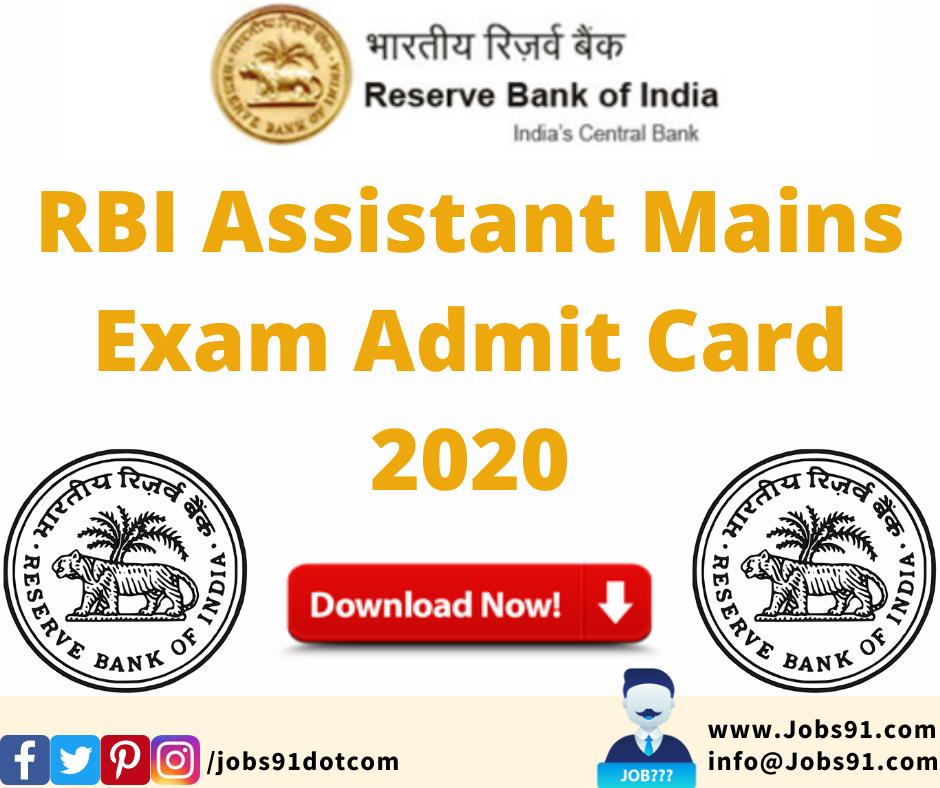 RBI Assistant Mains Exam Admit Card 2020 @ Jobs91.com