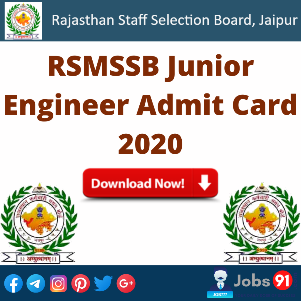 RSMSSB Junior Engineer Admit Card 2020 @ Jobs91.com