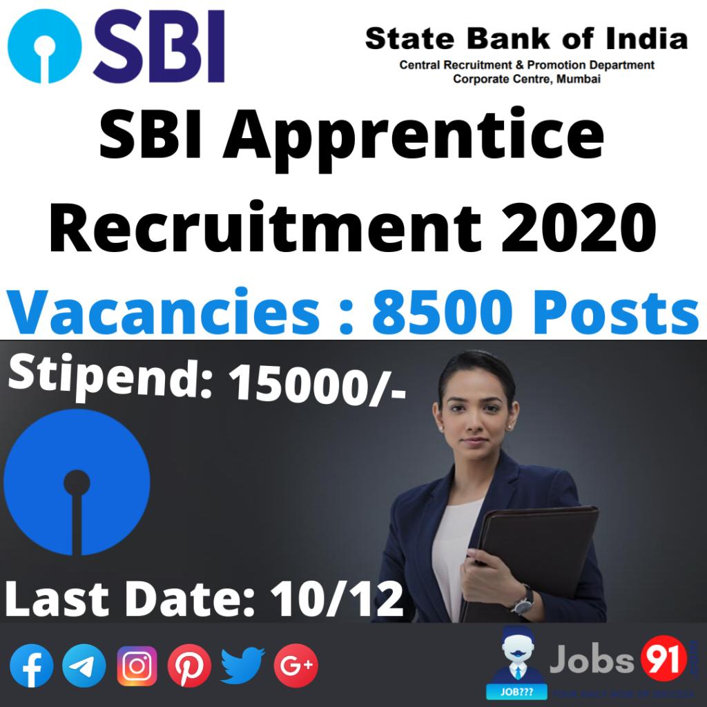 SBI Apprentice Recruitment 2020 @ Jobs91.com