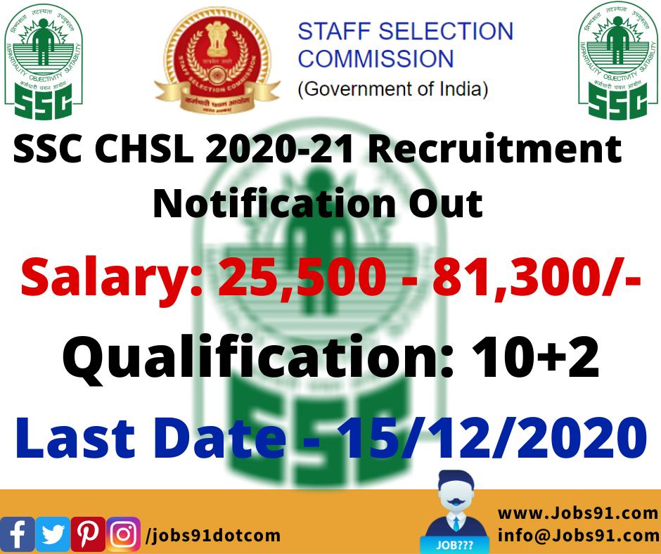 SSC CHSL 2020-21 @ Jobs91.com