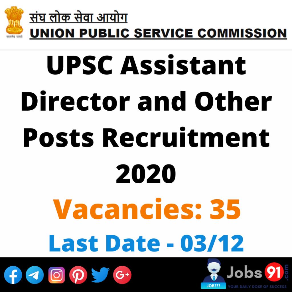 UPSC Assistant Director and Other Posts Recruitment 2020 @ Jobs91.com